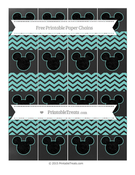 Free Tiffany Blue Chevron Chalk Style Mickey Mouse Paper Chains