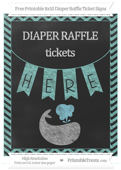 Free Tiffany Blue Chevron Chalk Style Whale 8x10 Diaper Raffle Ticket Sign