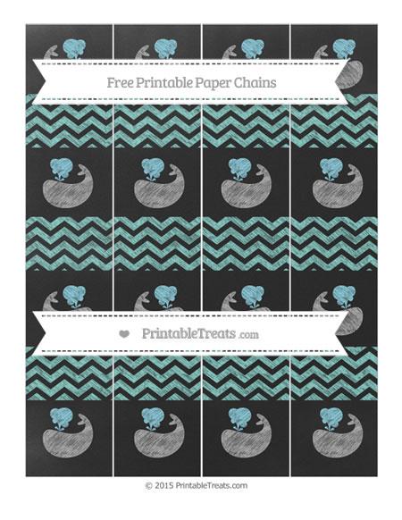 Free Tiffany Blue Chevron Chalk Style Whale Paper Chains
