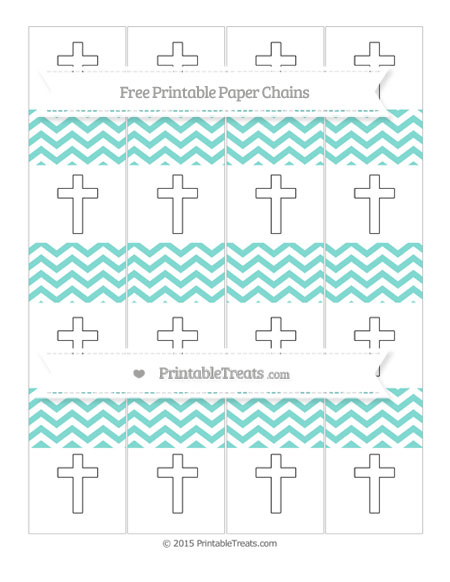 Free Tiffany Blue Chevron Cross Paper Chains