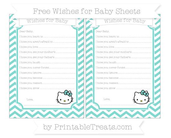 Free Tiffany Blue Chevron Hello Kitty Wishes for Baby Sheets