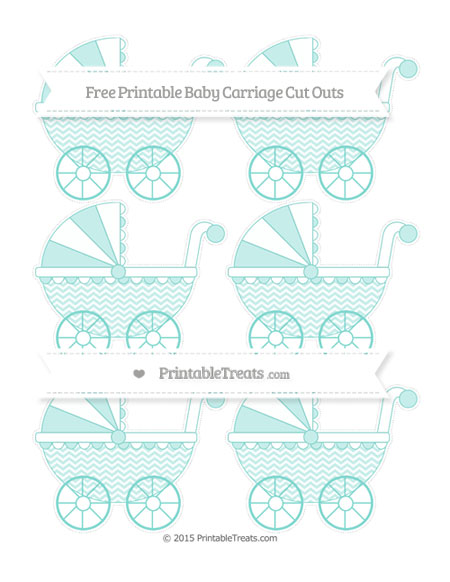 Free Tiffany Blue Chevron Small Baby Carriage Cut Outs