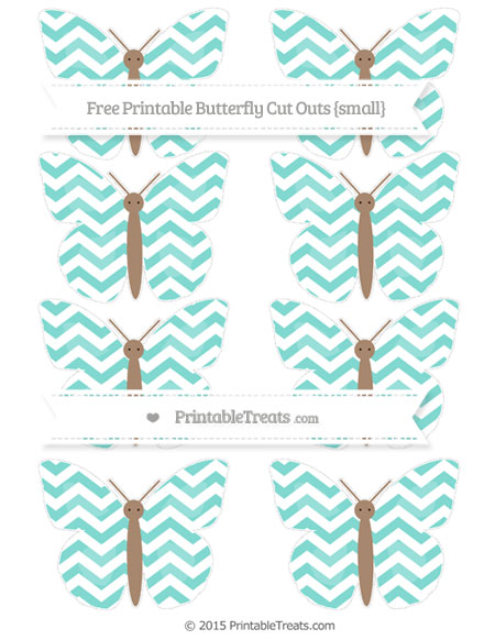 Free Tiffany Blue Chevron Small Butterfly Cut Outs