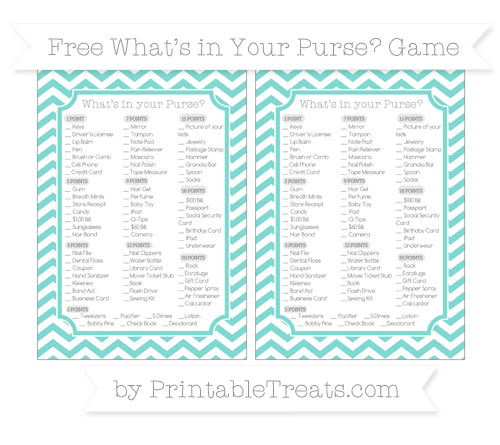 Free Tiffany Blue Chevron What's in Your Purse Baby Shower Game