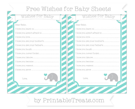 Free Tiffany Blue Diagonal Striped Baby Elephant Wishes for Baby Sheets