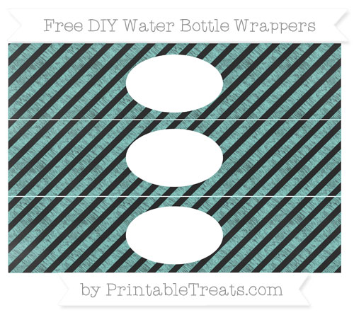 Free Tiffany Blue Diagonal Striped Chalk Style DIY Water Bottle Wrappers