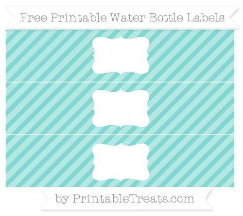 Free Tiffany Blue Diagonal Striped Water Bottle Labels
