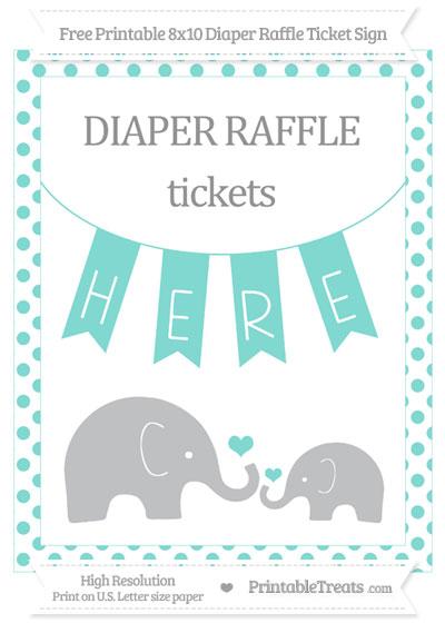 Free Tiffany Blue Dotted Elephant 8x10 Diaper Raffle Ticket Sign