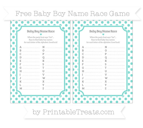 Free Tiffany Blue Dotted Pattern Baby Boy Name Race Game