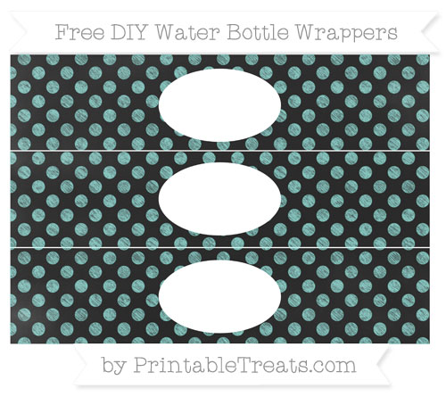 Free Tiffany Blue Dotted Pattern Chalk Style DIY Water Bottle Wrappers