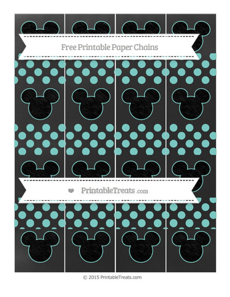 Free Tiffany Blue Dotted Pattern Chalk Style Mickey Mouse Paper Chains