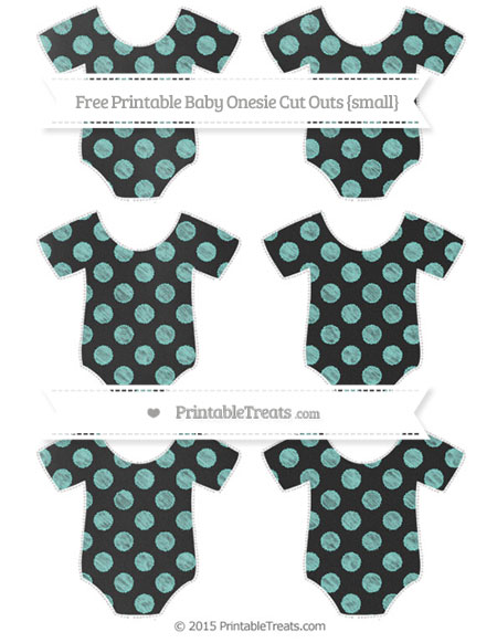 Free Tiffany Blue Dotted Pattern Chalk Style Small Baby Onesie Cut Outs