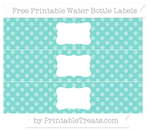 Free Tiffany Blue Dotted Pattern Water Bottle Labels