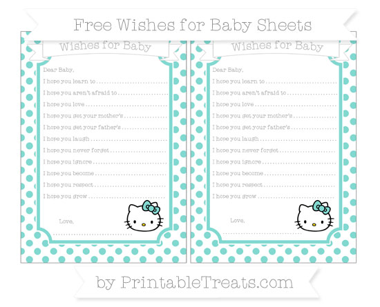Free Tiffany Blue Dotted Pattern Hello Kitty Wishes for Baby Sheets
