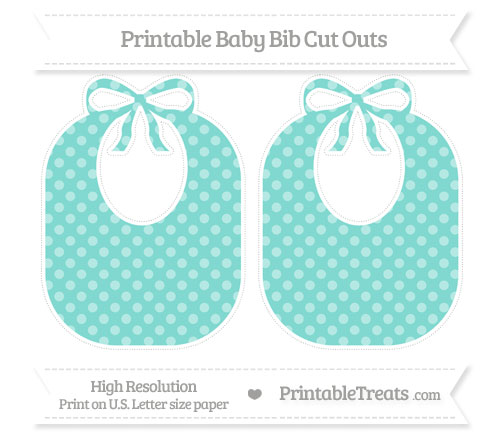 Free Tiffany Blue Dotted Pattern Large Baby Bib Cut Outs