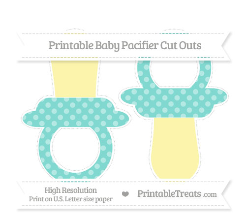 Free Tiffany Blue Dotted Pattern Large Baby Pacifier Cut Outs