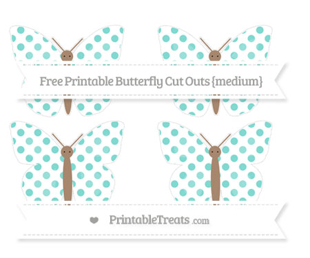 Free Tiffany Blue Dotted Pattern Medium Butterfly Cut Outs