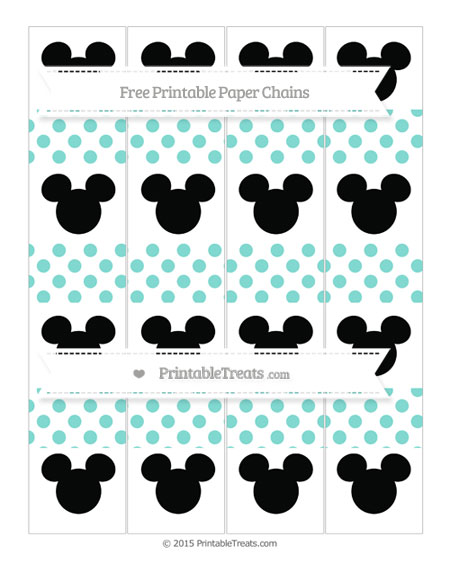Free Tiffany Blue Dotted Pattern Mickey Mouse Paper Chains