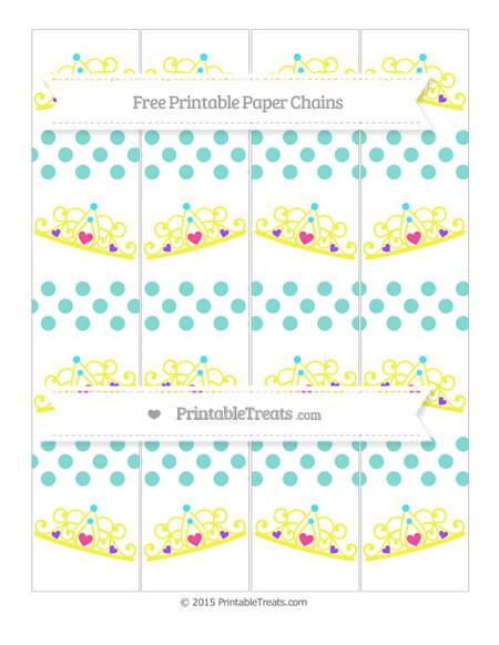 Free Tiffany Blue Dotted Pattern Princess Tiara Paper Chains