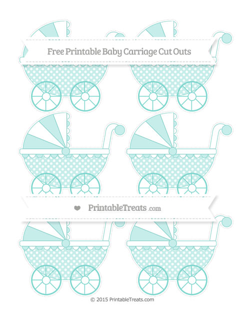 Free Tiffany Blue Dotted Pattern Small Baby Carriage Cut Outs