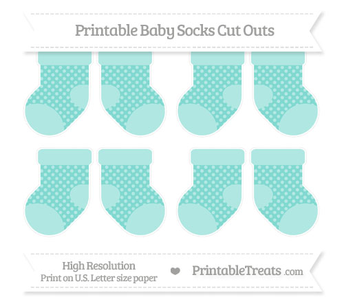 Free Tiffany Blue Dotted Pattern Small Baby Socks Cut Outs