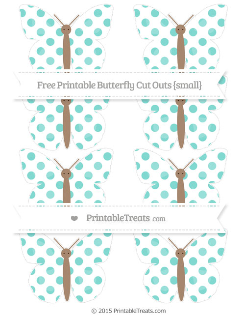 Free Tiffany Blue Dotted Pattern Small Butterfly Cut Outs