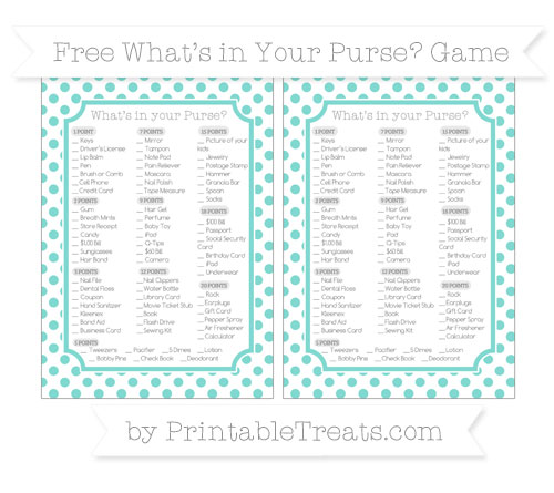 Free Tiffany Blue Dotted Pattern What's in Your Purse Baby Shower Game