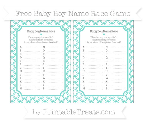 Free Tiffany Blue Fish Scale Pattern Baby Boy Name Race Game