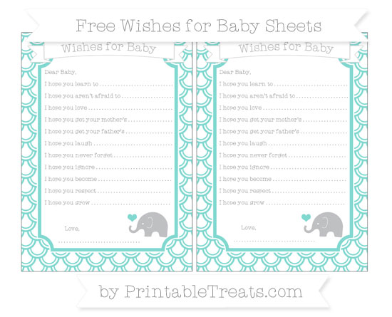 Free Tiffany Blue Fish Scale Pattern Baby Elephant Wishes for Baby Sheets