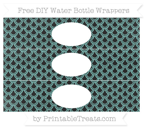 Free Tiffany Blue Fish Scale Pattern Chalk Style DIY Water Bottle Wrappers