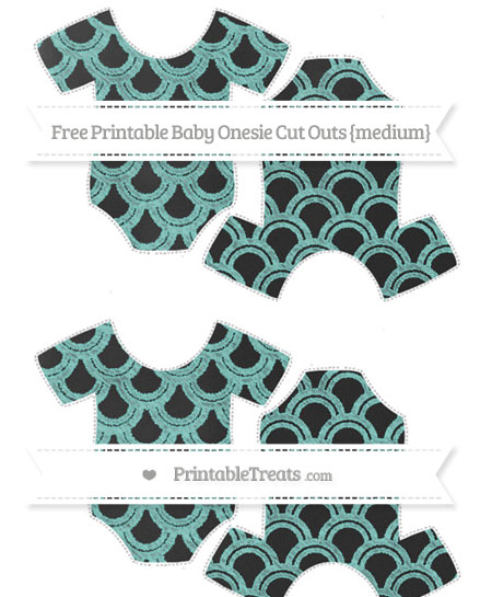 Free Tiffany Blue Fish Scale Pattern Chalk Style Medium Baby Onesie Cut Outs