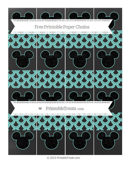 Free Tiffany Blue Fish Scale Pattern Chalk Style Mickey Mouse Paper Chains