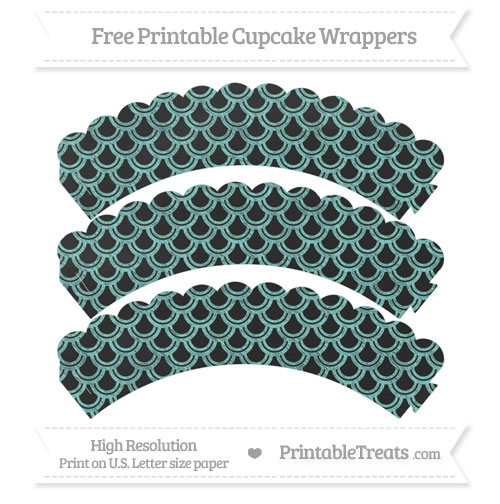 Free Tiffany Blue Fish Scale Pattern Chalk Style Scalloped Cupcake Wrappers