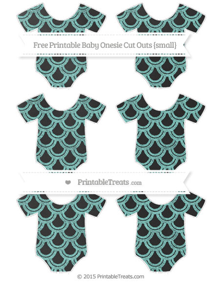 Free Tiffany Blue Fish Scale Pattern Chalk Style Small Baby Onesie Cut Outs