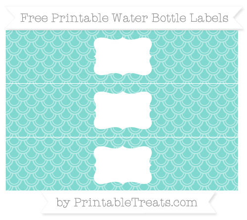 Free Tiffany Blue Fish Scale Pattern Water Bottle Labels