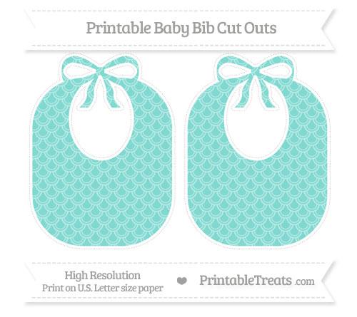 Free Tiffany Blue Fish Scale Pattern Large Baby Bib Cut Outs