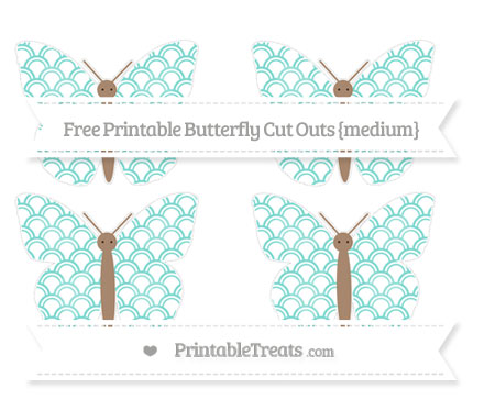 Free Tiffany Blue Fish Scale Pattern Medium Butterfly Cut Outs