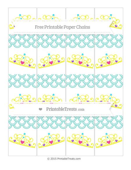 Free Tiffany Blue Fish Scale Pattern Princess Tiara Paper Chains