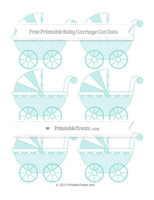 Free Tiffany Blue Fish Scale Pattern Small Baby Carriage Cut Outs