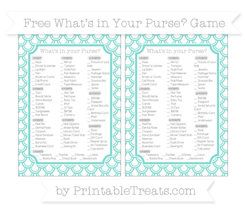 Free Tiffany Blue Fish Scale Pattern What's in Your Purse Baby Shower Game