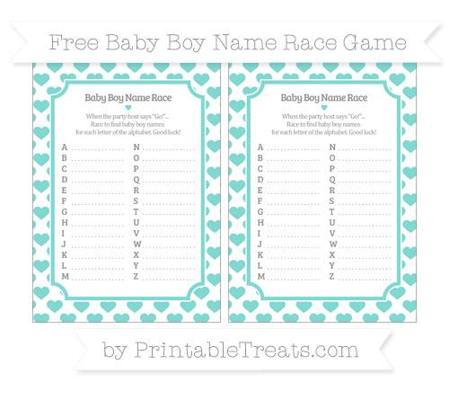 Free Tiffany Blue Heart Pattern Baby Boy Name Race Game