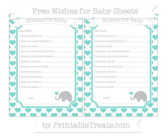 Free Tiffany Blue Heart Pattern Baby Elephant Wishes for Baby Sheets