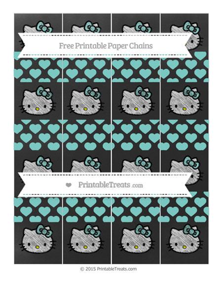 Free Tiffany Blue Heart Pattern Chalk Style Hello Kitty Paper Chains