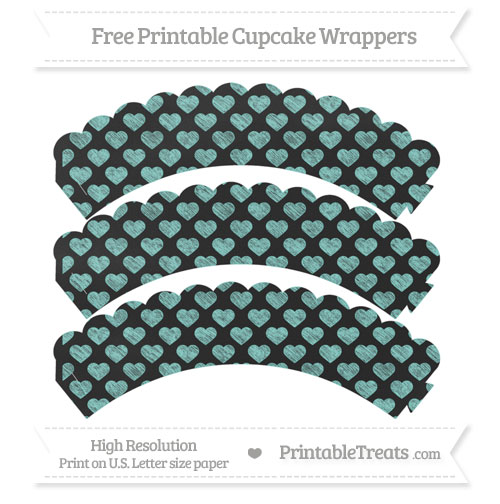 Free Tiffany Blue Heart Pattern Chalk Style Scalloped Cupcake Wrappers