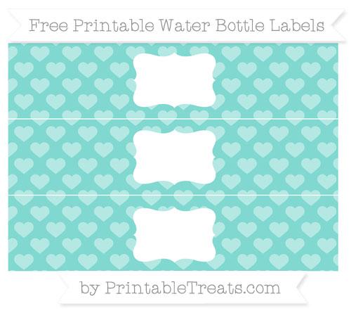 Free Tiffany Blue Heart Pattern Water Bottle Labels