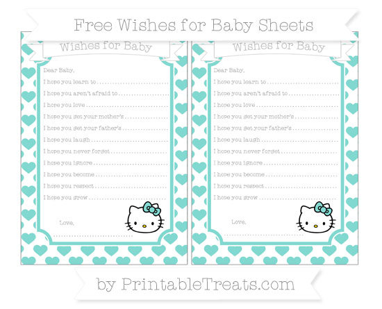 Free Tiffany Blue Heart Pattern Hello Kitty Wishes for Baby Sheets