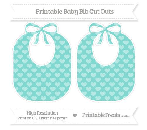 Free Tiffany Blue Heart Pattern Large Baby Bib Cut Outs