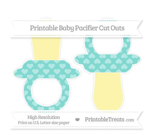 Free Tiffany Blue Heart Pattern Large Baby Pacifier Cut Outs