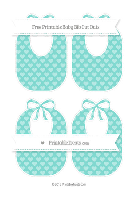Free Tiffany Blue Heart Pattern Medium Baby Bib Cut Outs
