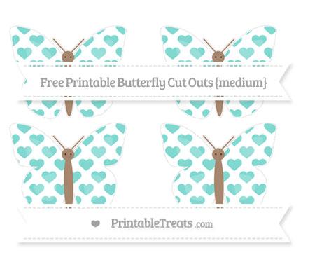 Free Tiffany Blue Heart Pattern Medium Butterfly Cut Outs